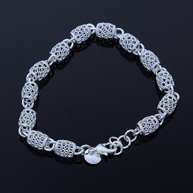 Women 925 Sterling Silver Hollow Chain Bracelet