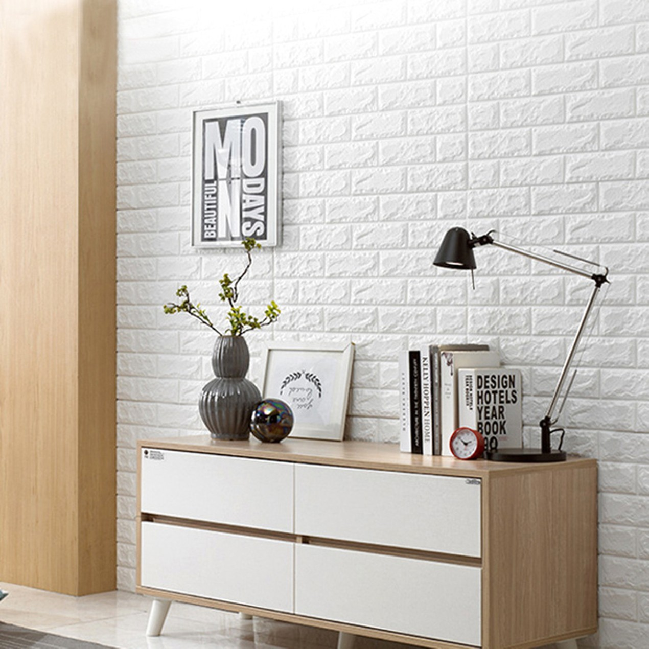 Peel And Stick 3D Wall Panel For Interior Decor White Brick Wallpaper