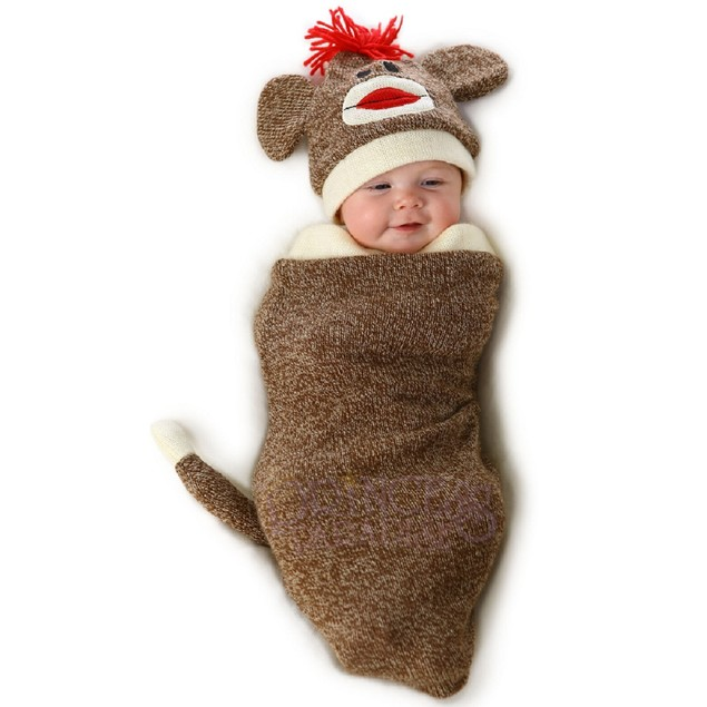 Marv The Sock Monkey Infant Costume Bunting Swaddle Hat Baby Newborn Outfit