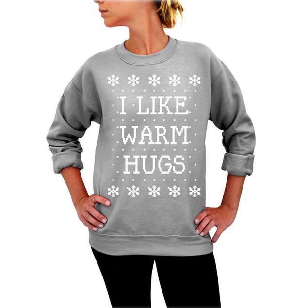 Womens Xmas Christmas Printing Sweatshirt Off Shoulder Tops Pullover Shirt