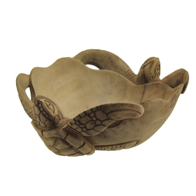 Wooden Sea Turtle Twins Scallop Edge Centerpiece Decorative Bowls