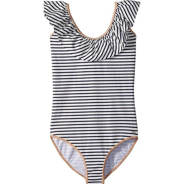 Chloe Kids Girl's Striped One-Piece Swimsuit (Big Kids) Caban  Sz 12