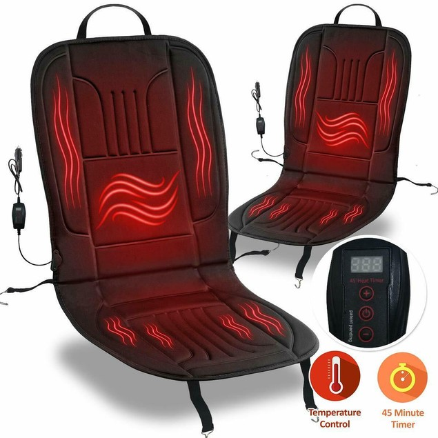 2-Pack Zone Tech New Heated Car Seat Cushion 45 Minute Auto Shut Off Timer