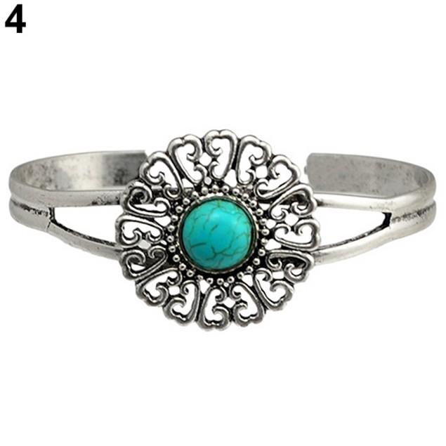 Women Retro Style Geometric Bangle Bracelet