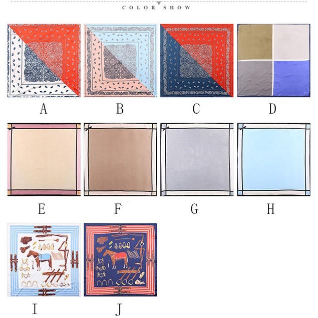 Women Printed Pattern Square Scarf Head Wrap Kerchief Neck Shawl