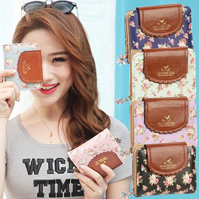 Women Vintage Floral Zip Mini Wallet Short Coin Purse Card Holder Clutch