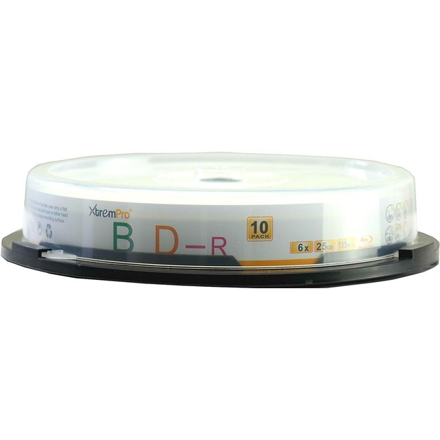 BD-R 6X 25GB 135Min Blu-Ray 10 Pack Blank Discs in Spindle