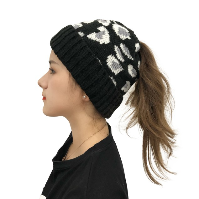Female Leopard Print Warmth Can Be Braided Hat
