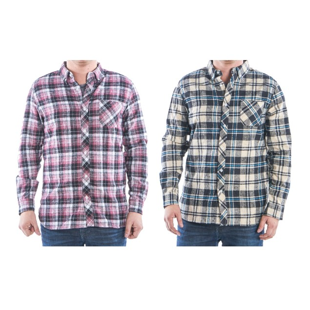 (2-Pack) Men's Flannel 2-Pocket Button Down Shirts