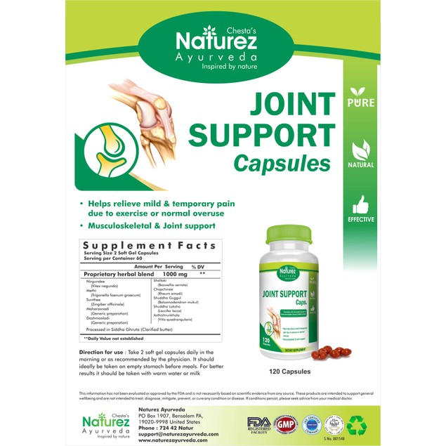 Naturez Ayurveda Joint Pain Relief- Powerful herbal Joint capsule (60days)