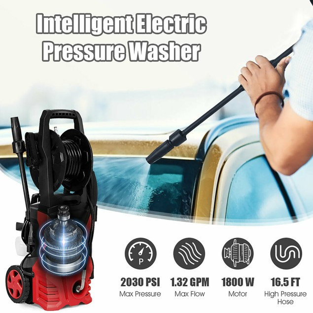 Costway 2030PSI Electric Pressure Washer Cleaner 1.7 GPM 1800W with Hose Re