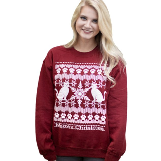 Womens Xmas Printing Sweatshirt Letters Round Neck Hedging Top Blouse
