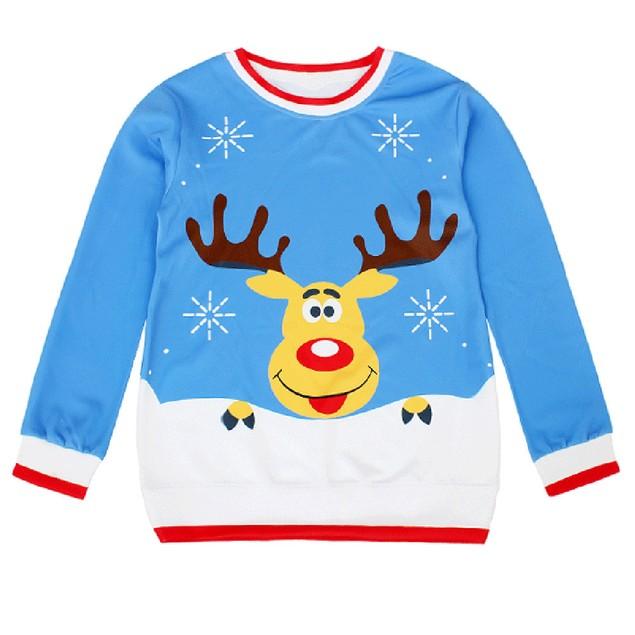 Women Long Sleeve Pullover Sweatshirt Christmas Print T-Shirt Tops B