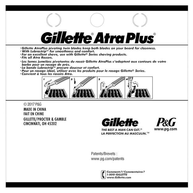 Gillette Atra Plus Men's Razor Blade, For All Textures Of Facial Hair, 10