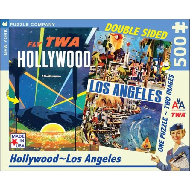 Hollywood   Los Angeles Double Sided 500 Piece Puzzle, 500 Piece Puzzles by