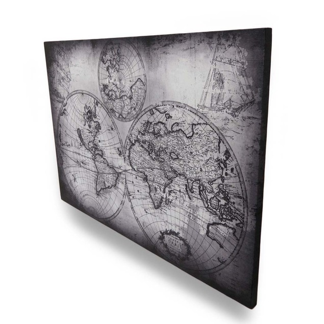 Black And Gray Early World Style Map Wall Hanging Prints