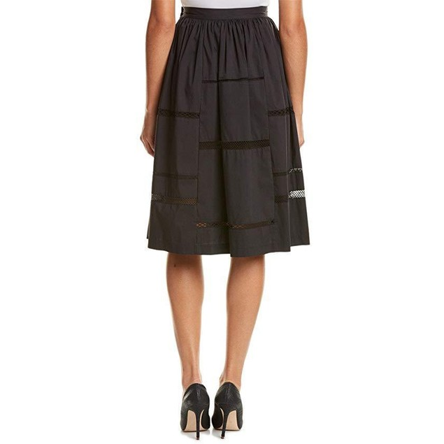 Nicole Miller Women's Poplin Trim Full Skirt Black Skirt 8