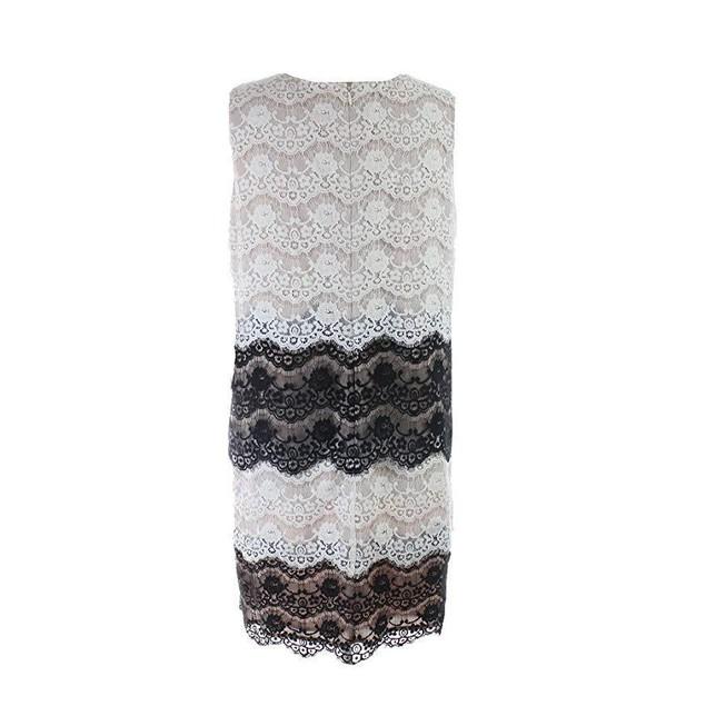 Jessica Simpson Women's Scallop Lace Tier Dress Ivory/Black 6