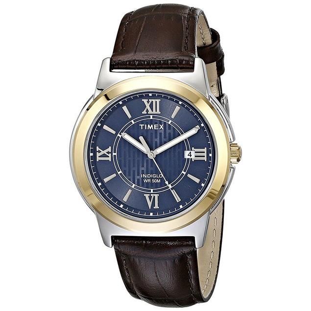 Timex Men's Analog Quartz Silver Tone Brass Brown Leather