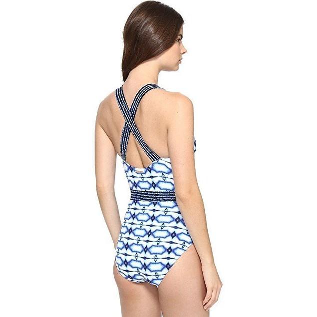 Michael Kors Women's One Piece X-Back Tank Swimsuit New Navy SZ: 4