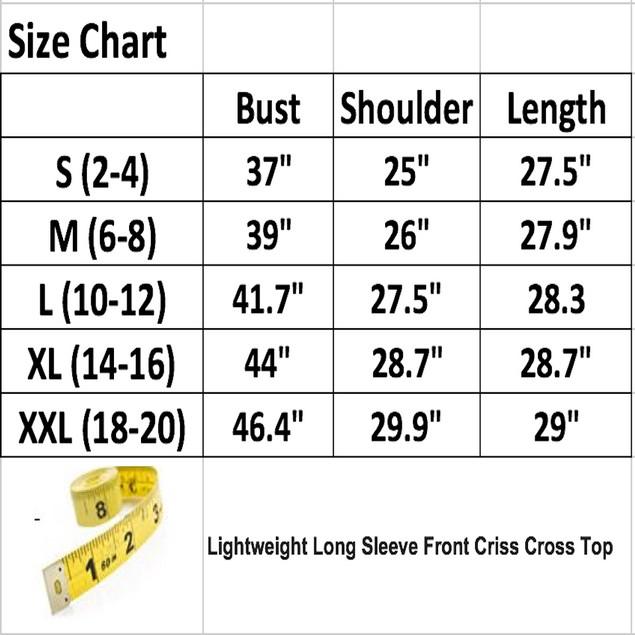 Lightweight Long Sleeve Front Criss Cross Top