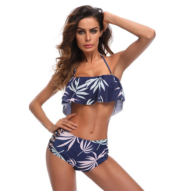 High Waisted Ruffle Top Swimsuit