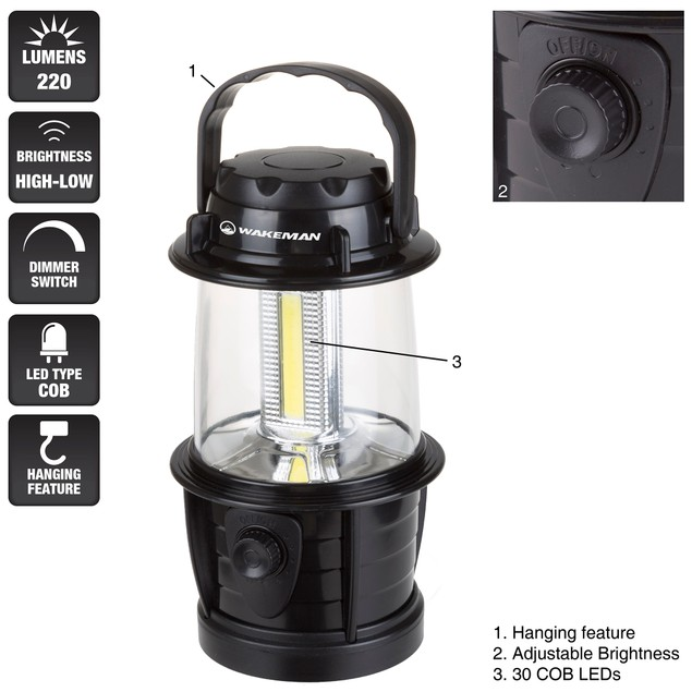 Wakeman COB Lantern with Dimmer Switch