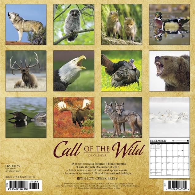 Call of the Wild Wall Calendar, Wildlife by Calendars