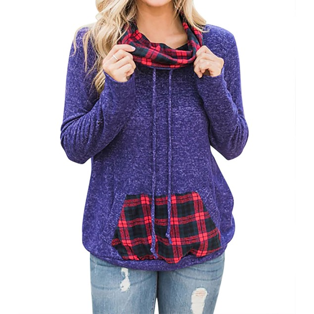 Heather Cowl Neck Sweater with Pocket Pouch