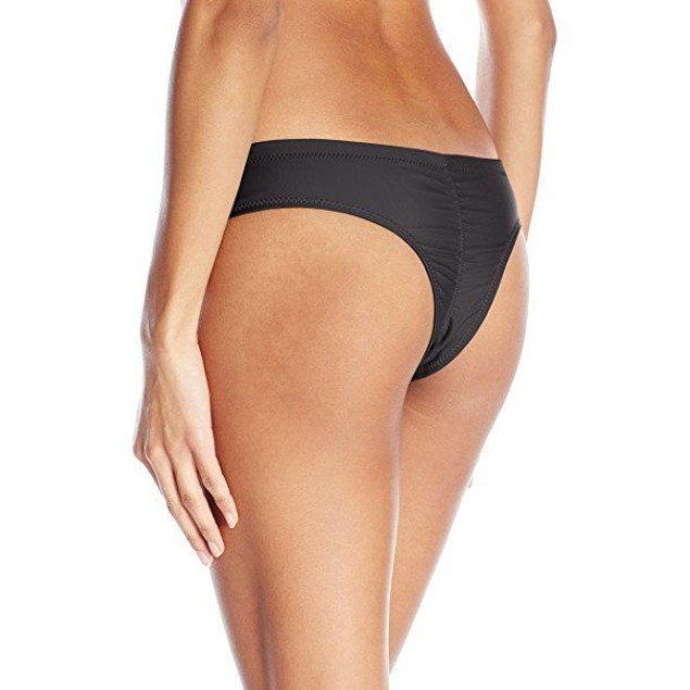 Volcom Women's Simply Solid Cheeky Swimsuit Bikini Bottom, Black, SZ L