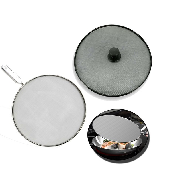 2-Piece Set: Anti-Splatter Cooking Screens with Knob & Handle