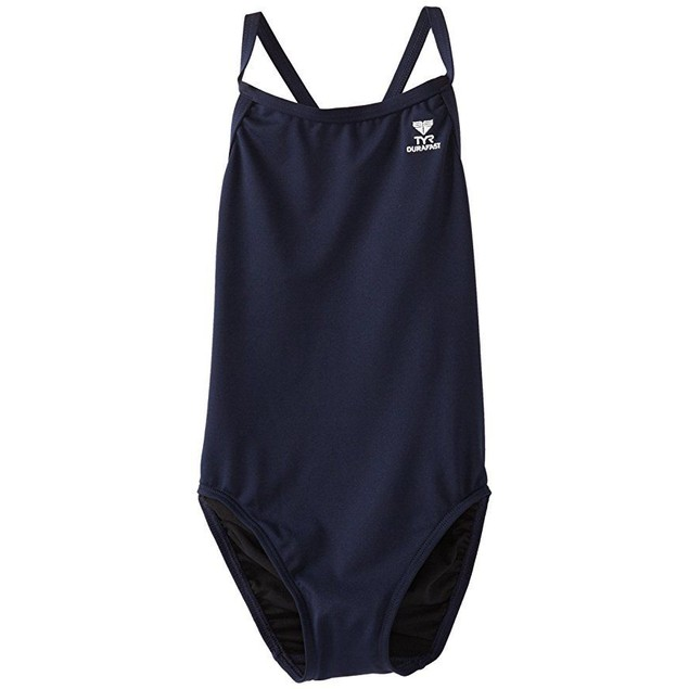 TYR Girl's Durafast Elite Solid Diamondfit Swimsuit (Navy, Size 30)