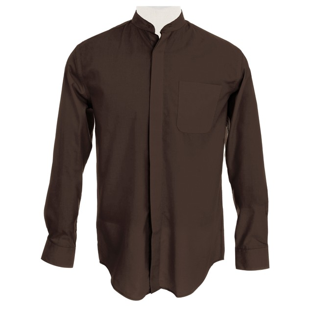 Men's Collarless Banded Collar Dress Shirt
