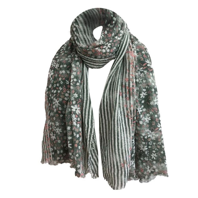 Women Floral Print Striped Women's Shawl Pashmina Stole Scarf Scarves