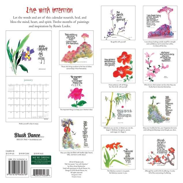 Live With Intention Wall Calendar, Women's Interests by Calendars