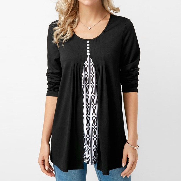 Women Ladies Casual Printing Patchwork T-shirt Long Sleeve Tops Blouse