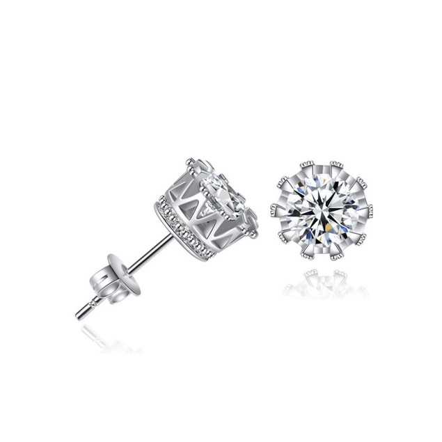 Silver Crown White Gold Plated Stud Earrings in Swarvoski Elements