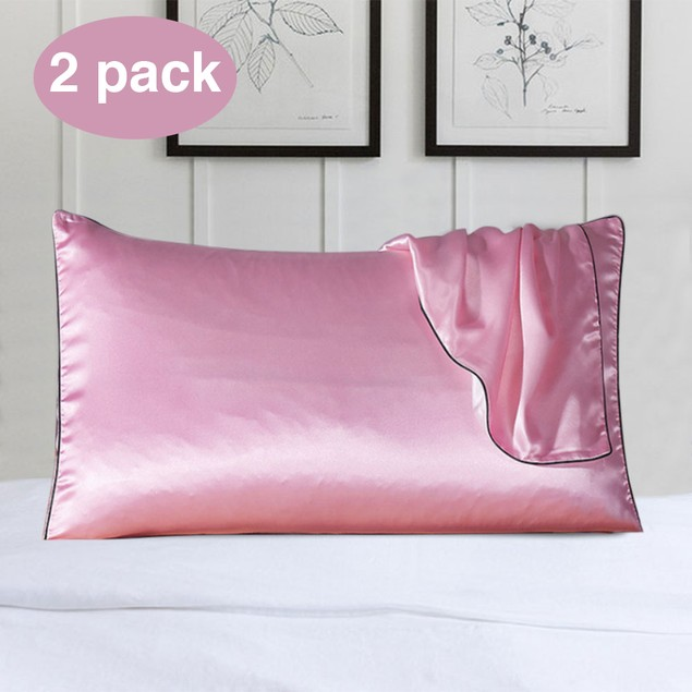 2-Pack 100% Silk Pillow Cover With Trim