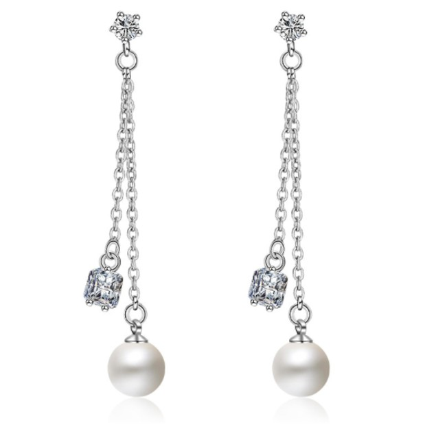 Sterling Silver Crystal and Pearl Dangle Earrings