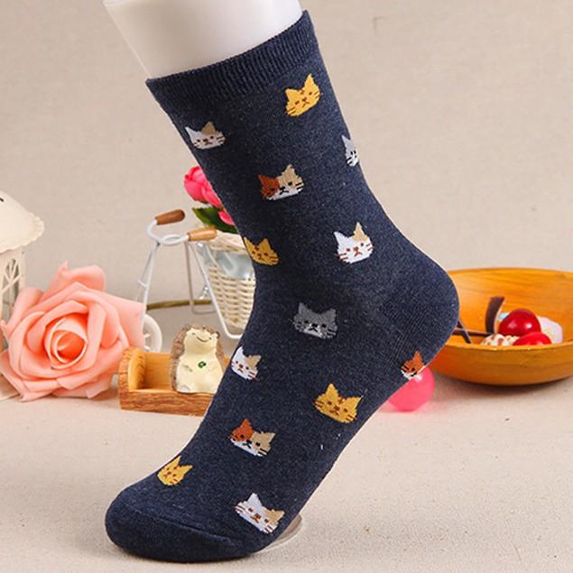 Women's Stylish Cute Cat Cartoon Cotton Ankle Socks