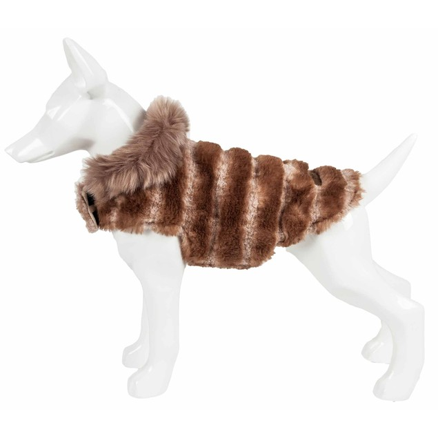 Pet Life Luxe 'Tira-Poochoo' Tiramisu Patterned Mink Dog Coat Jacket