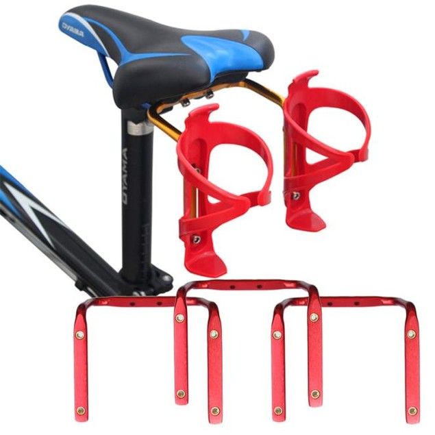 MTB Bike Seat Post Back Double Water Bottle Holder Cage Rack Adapter