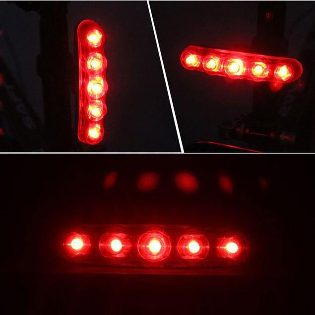 Waterproof 5 LED 3 Mode Cycling Bicycle Bike Warning Safety Rear Tail Light