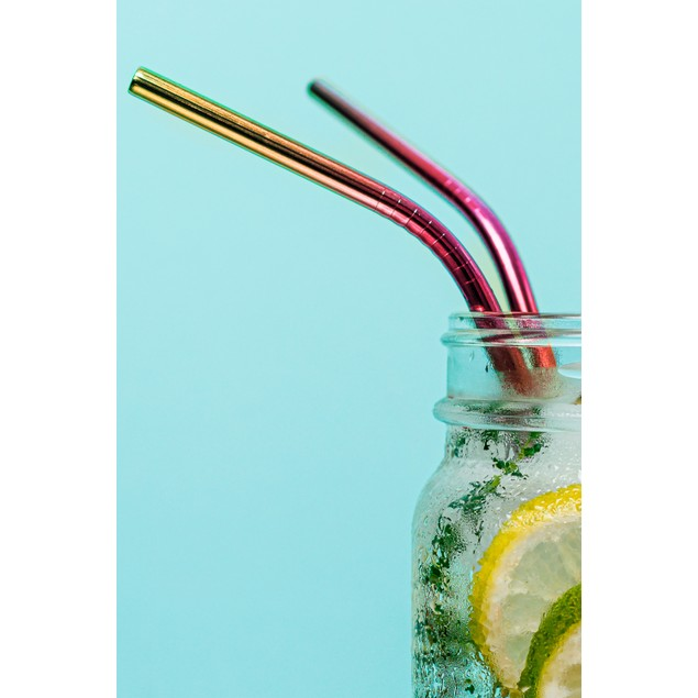 12-Pack Reusable Stainless Steel Straw in Rainbow w/ Cleaning Brush