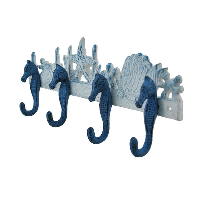 Blue And White Seahorses Sea Life Cast Iron Wall Decorative Wall Hooks