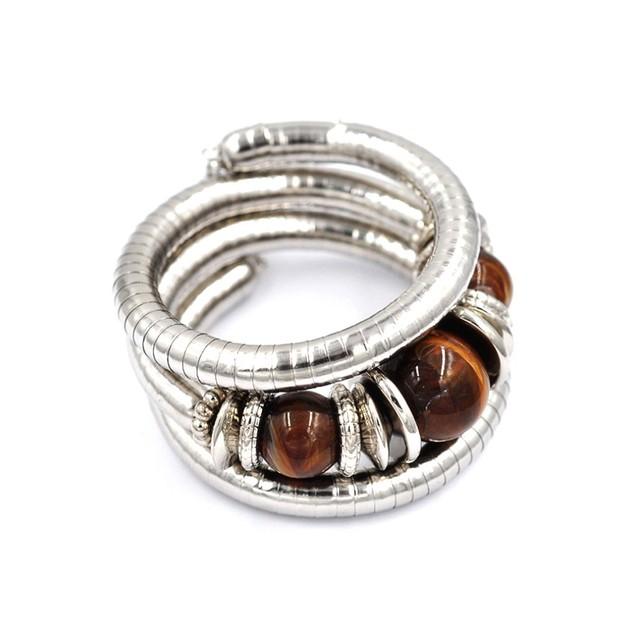 Novadab Wrap Silver and Tiger Eye Bracelet