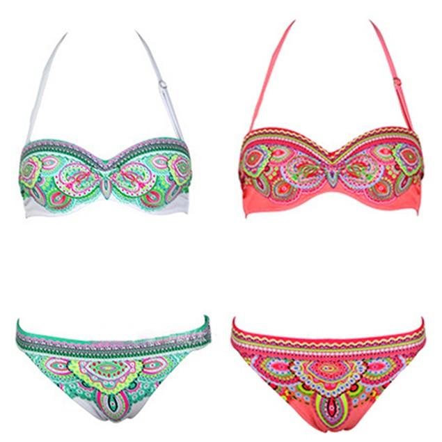 Women Summer Bohemian Swimwear Sexy Floral Print Swimsuit Bikini Sets