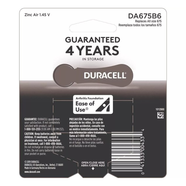 Duracell 675 Zinc Carbon Hearing Aid Batteries w/ Long Lasting Power, Pack