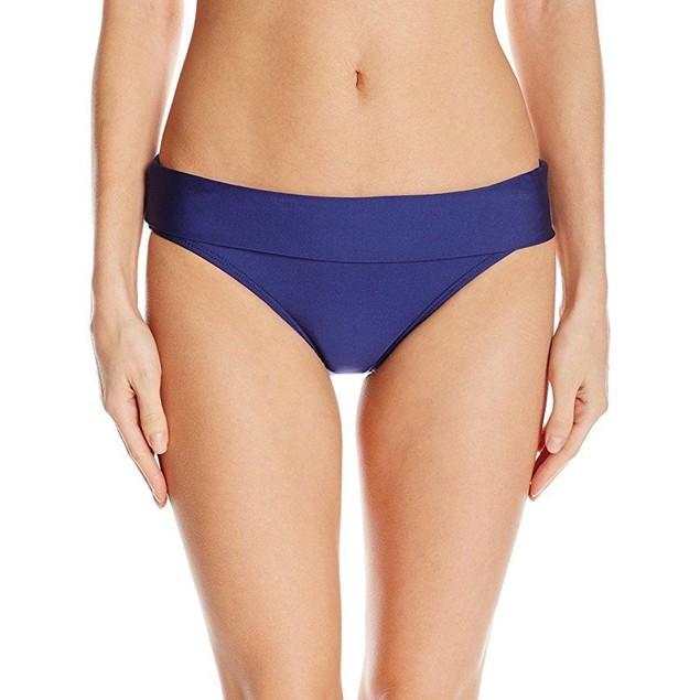 Splendid Women's Stitch Solid Banded Bikini Bottom, Navy, S