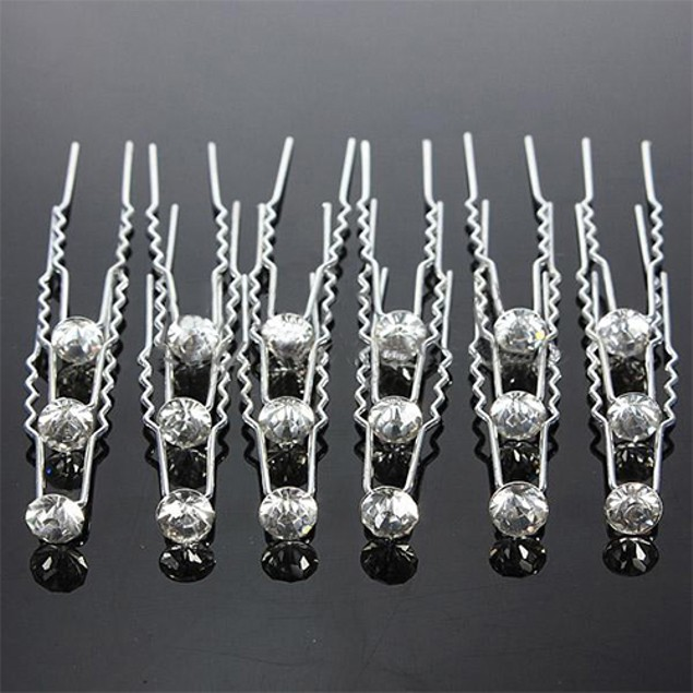20Pcs Women Fashion Bridal Rhinestone Clips Hairpin